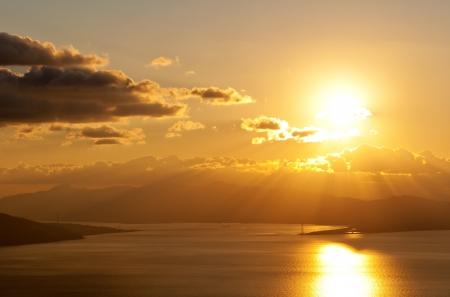 strait: A scene from the Belvedere St  Elias, where you can see, the Strait of Messina, Reggio Calabria, Messina  Sicily , Ganzirri, masts, Cannitello, Scilla