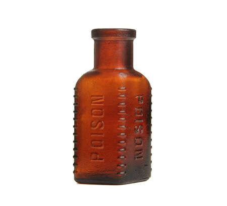 Vintage poison bottle. Isolated on white.