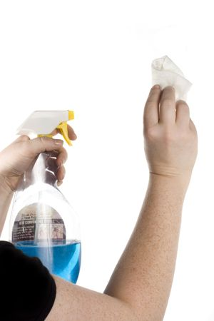Glass cleaner. Isolated on white.