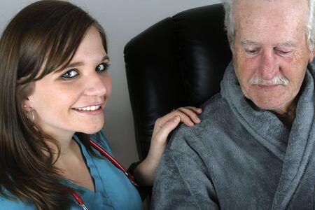 Smiling nurse helping a senior man.