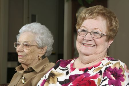 Two active senior women at an assisted living facility