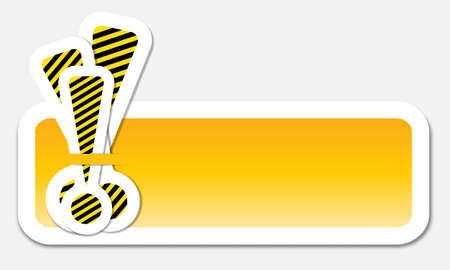 yellow text frame with exclamation mark