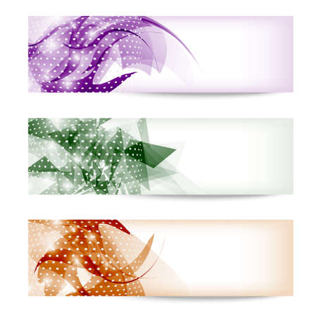 set three colored abstract banner