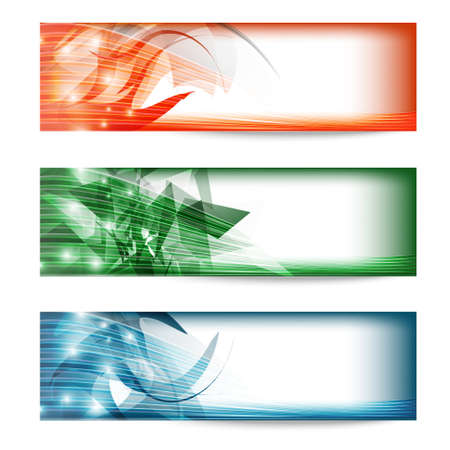 three colored: set of three colored banners