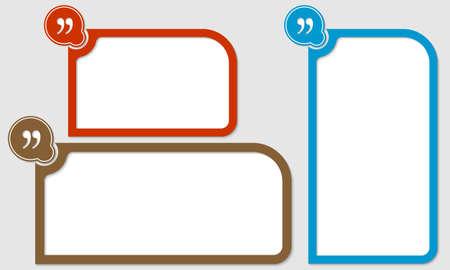 Conjunto de tres cuadros de texto con comillas