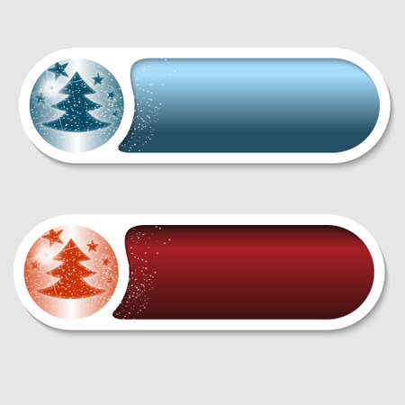 christmas motif: blue and red vector buttons with a Christmas motif