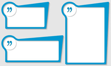 quotation: set of three boxes with quotation mark