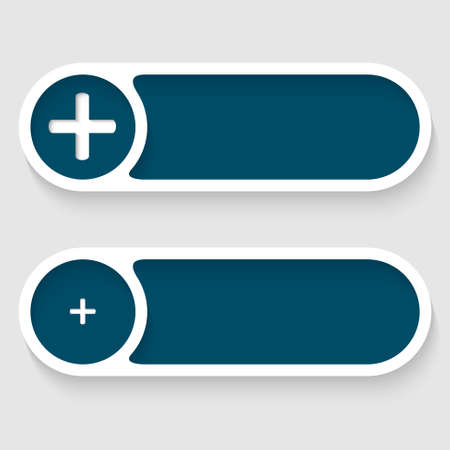 blue vector buttons with plus sign Stock Vector - 22223709
