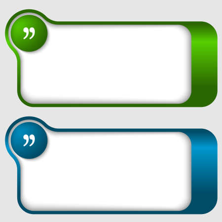 set of two abstract text frames with quotation mark