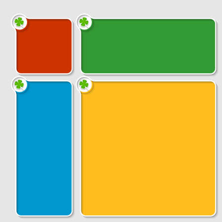 set of four colored box for any text with cloverleaf Vector