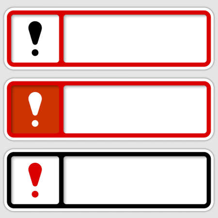 set of three boxes for any text with exclamation mark Vector