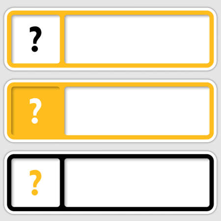 set of three boxes for any text with question mark Illustration