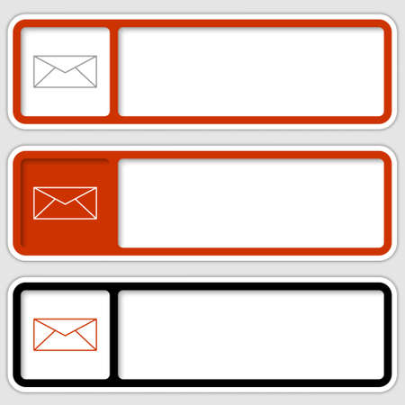 set of three boxes for any text with envelope Vector