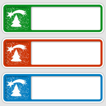 christmas motif: set of three boxes for any text with a Christmas motif