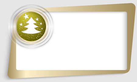 christmas motif: golden abstract text frame and transparent circle with a Christmas motif