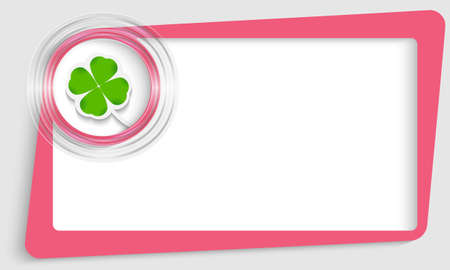 pink abstract text frame and transparent circle with cloverleaf Vector
