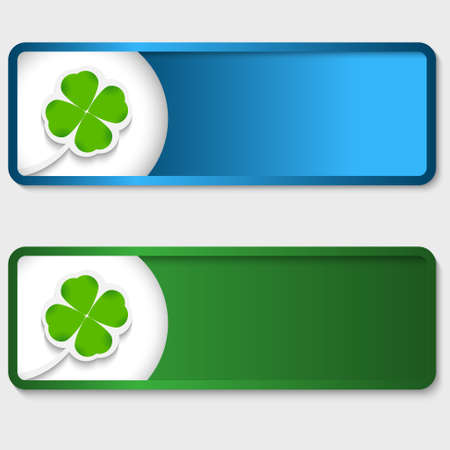 set of two text boxes with cloverleaf Vettoriali
