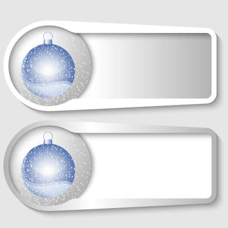 set of two boxes for any text with a Christmas balls Illustration