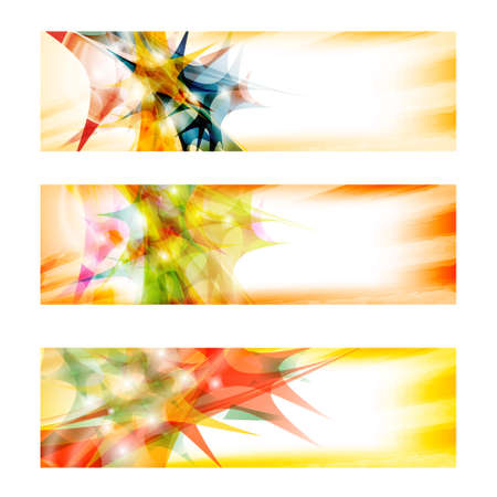 three colored: set of three colored abstract banners