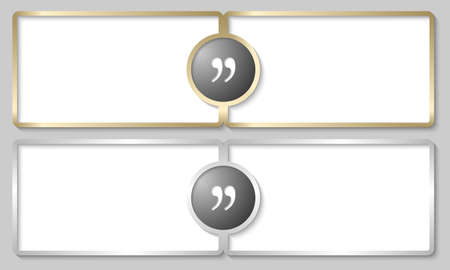 silver and golden text boxes with quotation mark Vector