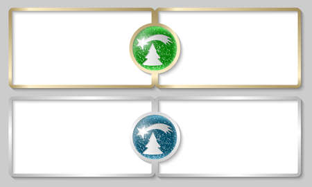 christmas motif: silver and golden text boxes with a Christmas motif