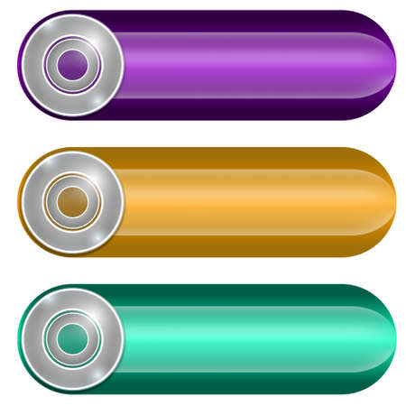 three colored: set of three colored buttons Illustration