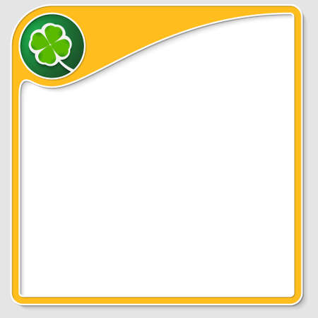 yellow frame for text with cloverleaf Stock Vector - 22895378