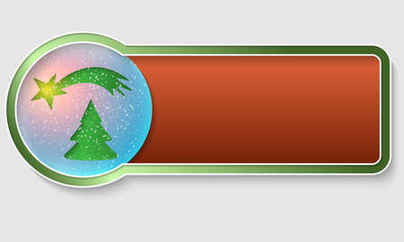 christmas motif: green text frame and Christmas motif Illustration