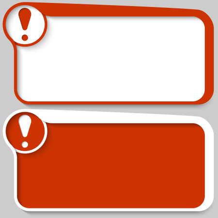 signo de admiracion: cuadro de texto de dos vectores de color rojo y un signo de exclamaci�n