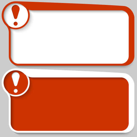 exclamation mark: two red vector text box and exclamation mark