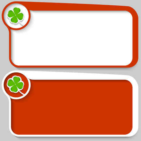 cloverleaf: two red vector text box and cloverleaf Illustration