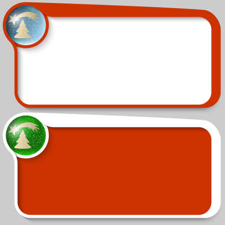 christmas motif: two red vector text box and Christmas motif Illustration