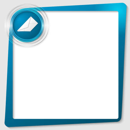 blue text frame and transparent circles with a envelope