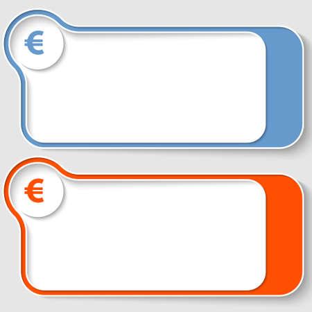 euro teken: set van twee abstracte tekstvakken met euro teken