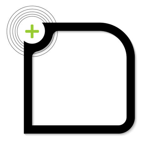green plus: black text box with green plus sign