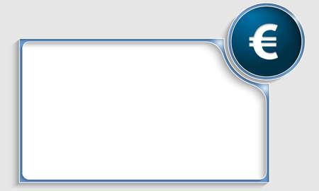 euro teken: blauwe tekst frame met euro teken