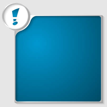silver box for any text with blue exclamation mark Stock Vector - 23387594