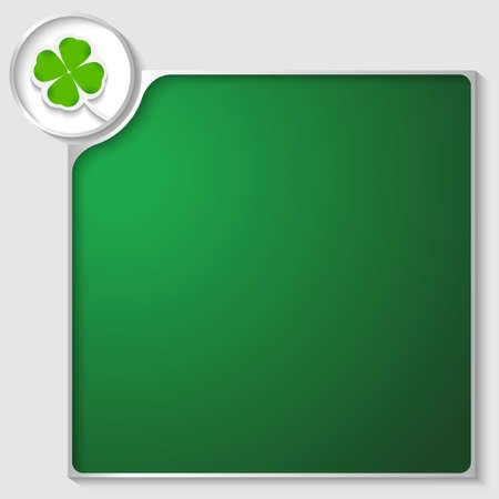 silver box for any text with green cloverleaf