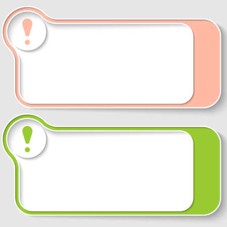 set of two abstract text boxes with exclamation mark