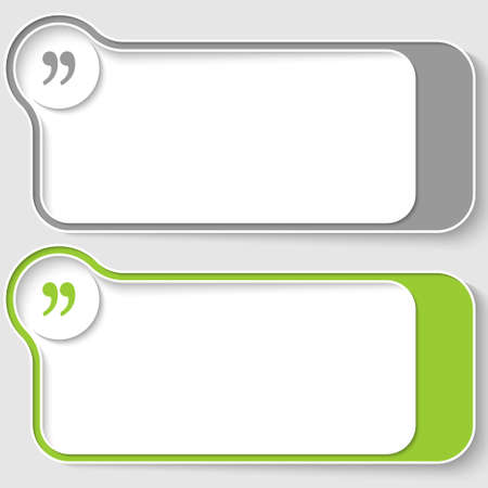 quotation: set of two abstract text boxes with quotation mark