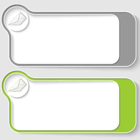 offiice: set of two vector text boxes with envelope