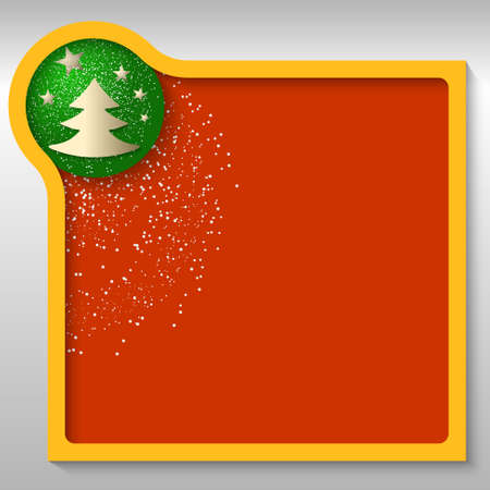 christmas motif: yellow text box with a Christmas motif and falling snow Illustration