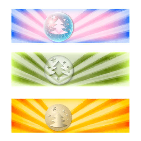 web desig: set of three colored abstract banners and Christmas motif