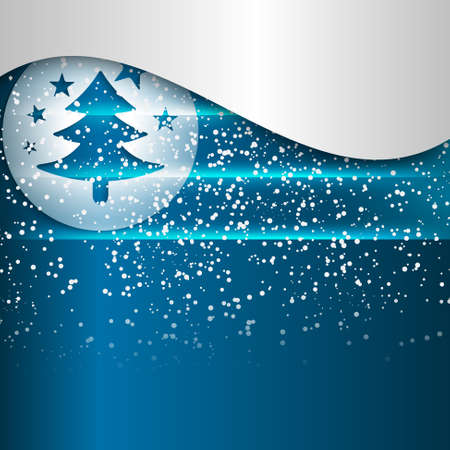 christmas motif: blue abstract background and a Christmas motif