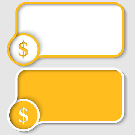 two yellow text frame and dollar sign