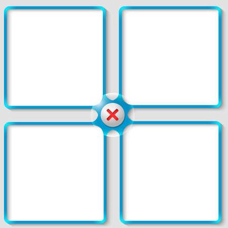 interdict: four vector associated text frames with ban mark Illustration