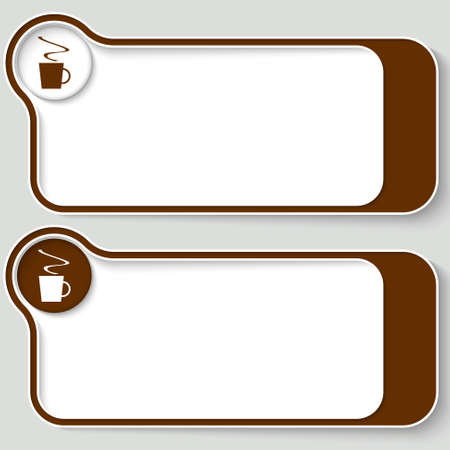 set of two abstract text boxes with cup of coffee