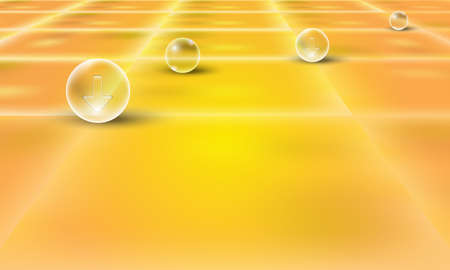 perspective grid: yellow abstract background with perspective grid and transparent bubble
