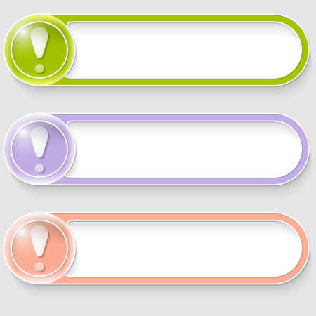 set of three vector abstract buttons with exclamation mark Vector