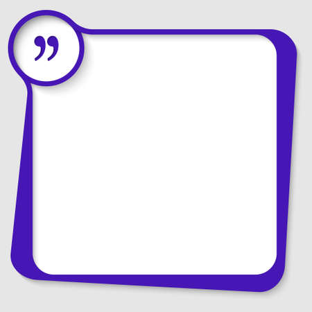 blue blank  text box for any text with quotation mark Vettoriali